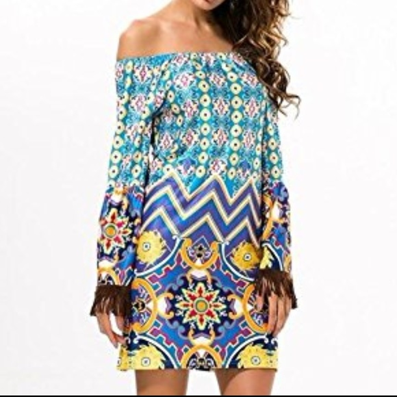 Xcel Couture Dresses & Skirts - Off Shoulder Paisley Print Flare Sleeve Dress